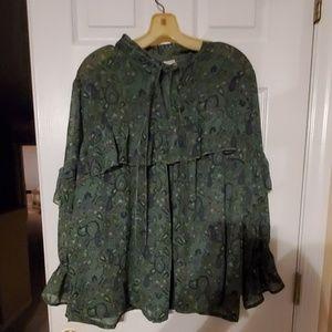 Green Lucky Brand blouse sz 2x